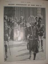 PAPA PIO X 2nd Anniversario della intronizzazione 1905 Old print