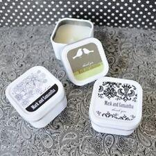 96 Personalized Square Tin Elite Design Candles Wedding Bridal Shower Favors