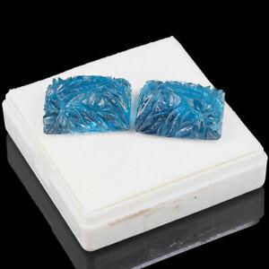 2 Pièces Certifié Naturel Bleu Topaze Paire AAA Qualité Rare Moghul Gravé Gemmes