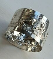 Silver Napkin Ring Depicting an Elephant, Tiger etc. Indian Solid Silver.