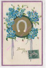 CPA GAUFREEEMBOSSED  Bonne Fête Fer à cheval petites fleurs bleues