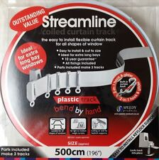 NEW 5 Meter Bendable Curtain Track For Bay or Straight windows (500cm) PVC