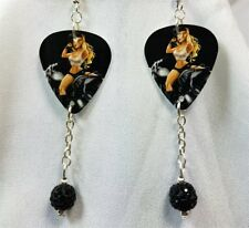 Biker Chick Pin Up Guitar Pick Earrings with Black Pave Bead Dangles