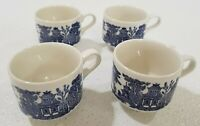 "Set of 4 Churchill England Blue Willow 3"" Breakfast Cup Large Soup Mugs Exc Cond"