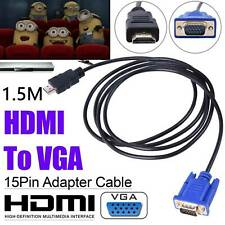 VGA Cables HD-15 D-SUB Video Adapter HDMI Cable for PC HDTV Monitor UK