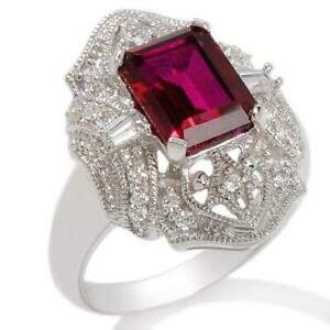 HSN Xavier Created Ruby & Absolute Sterling Silver Shield Ring Sz 7 $200
