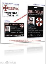 ZOMBIE COLLECTION..Umbrella Corp .. ID CARD & BADGE with staff car DECAL