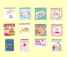 12 HAND-MADE DOLLS' HOUSE 1/12TH SCALE BIRTHDAY CARDS