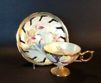 Pedestal Cup And Reticulated Saucer - White & Gold Luster - Moriage Iris - Japan