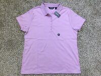 NWT Lands End Women's Pink Amethyst Soft Pima Polo Shirt Blouse Top Sz XL
