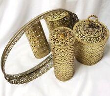 Vintage 3 Pieces Ormolu Filigree Vanity Set