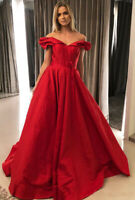 Unique Red Prom Dresses Off Shoulder Satin A-line Formal Evening Party Gowns