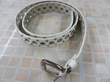 "WOMENS VTG STUDDED PU LEATHER BELT WHITE SIZE 105 CM 38"" GOOD/WORN SKU NO AR544"