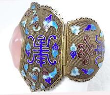 Fine Antique Chinese Filigree Silver Enamel Bats, Rose Quartz Bracelet 105g WIDE