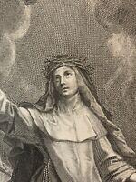 Belle gravure ancienne portrait Sainte Catherine De Sienne Coeur Sacré