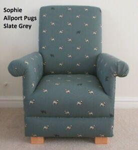 Kids Chair Sophie Allport Pug Fabric Slate Grey Dogs Puppies Children's Armchair