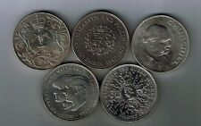 5 different commemorative crown coins 1965 1972 1977 1980 1981