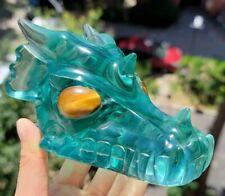 "5.1"" OCEAN BLUE OBSIDIAN Carved Crystal Dragon Skull & Tiger Eye Eyes"