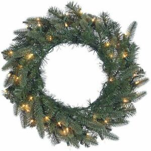 """Trimming Traditions 22"""" Prelit PE Blend Wreath (Clear Lights) **NEW IN BOX**"""