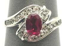 Sterling Silver Oval Pink Tourmaline CZ Pave Swirl Curved Elegant Cocktail Ring