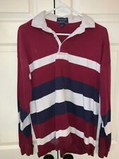 Vintage Gant Rugger LS Mens striped made in USA Polo Rugby Size L