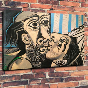 """Picasso -The Kiss Printed Box Canvas Picture A1.30""""x20"""" Deep 30mm Frame Repro"""