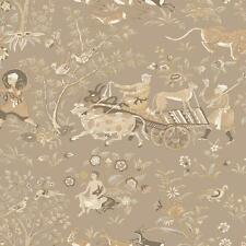 Wallpaper Kismet Asian Far East Toile Tan Beige Cream Metallic Gold ink