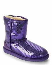 New Girl UGG PurpleClassicShortSequinSparkleWinterBoot 1004885K BigKid 5 Women 7