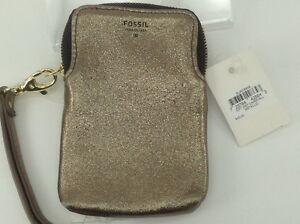 Women's FOSSIL Leather Gold Metalic CarryAll Wallet - $45 MSRP