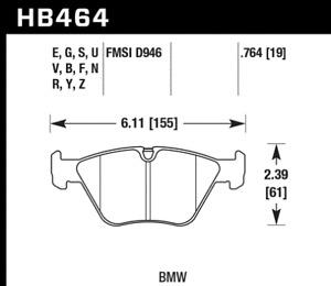 Hawk Disc Brake Pad for BMW  330Ci, 330i, 330xi, M3 / HB464G.764