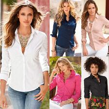 Womens Fashion Career Business Botton Shirt Sleeve Slim OL Lapel Blouse Tops