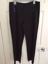 Rockmans Womens Black Twill Sailor Pants - Size 16 NEW