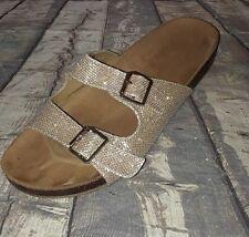 bdd591a4fd9 Wanted Cujo Gold Dual Buckle Metallic Slide on Sandals size 10