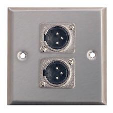 Metal AV Wall Plate 2 x 3 Pin XLR Connectors