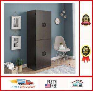 Tall Storage Cabinet Kitchen Pantry Cupboard Organizer Furniture Dark Chocolate