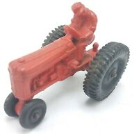 "Vintage Auburn Rubber Co 4"" Toy Tractor Red W/ Black Wheels"