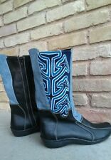 Handcrafted boots with Mola art and leather  -black size 8 by Nativo shoes