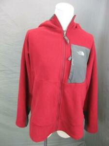The North Face Size XL Boys Red Full Zip Side Pocket Hooded Fleece Jacket T798