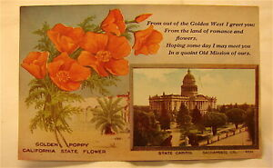 Vintage 1908 California State Capital Post Card----Un poste