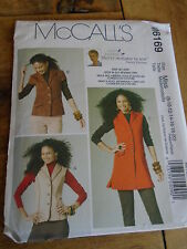 "PATRON  ""McCalls ""3 VERSIONS GILET LONG OU COURT  T 36 A 48  N°6169"
