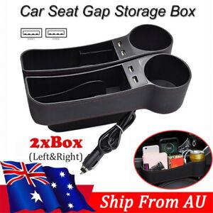 Dual USB Auto Seat Organizer Filler Gap Pocket Keys Phone Cup Holder Storage Box