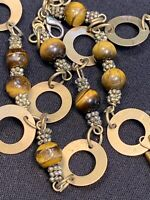 Vtg Stone tigers Eye Brass  Beaded Necklace And Link Bracelet Set Bohemian Boho