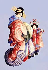 "Hiroshige Oiran Kamuro VINTAGE JAPANESE ART *FRAMED* CANVAS ART 18x12"""