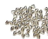 6mm Bicone Pyramid Bright Silvertone Metalized Metallic Beads