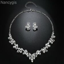 Gorgeous Crystal Leaves White Gold Necklace and Earrings Wedding Jewellery Set