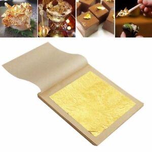5-100pcs 24K Essbare Gold Folie Blatt Kochen Kunst Arbeit Vergoldung 4.33x4.33cm