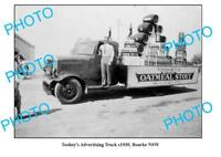 OLD LARGE PHOTO BOURKE NSW TOOHEYS BEER ADVERTISING TRUCK c1930
