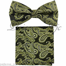 Olive Green Paisley Pre-tied Bow tie and Pocket Square Hanky Set Party Wedding