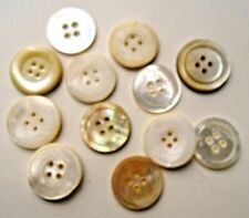 Vintage Lot of 12 Antique MOP Mother Pearl SHELL BUTTON Hand Carved Victorian