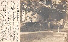 C98/ Sebring Ohio Postcard Real Photo RPPC 1912 Home Girls Pony Wagon